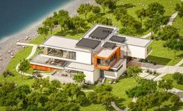 het 3d teruggeven van modern huis door de rivier Royalty-vrije Stock Fotografie