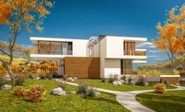 het 3d teruggeven van modern huis door de rivier Stock Fotografie