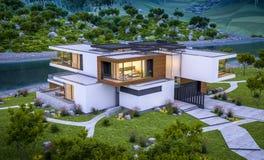 het 3d teruggeven van modern huis door de rivier bij avond Royalty-vrije Stock Fotografie