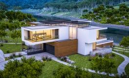 het 3d teruggeven van modern huis door de rivier bij avond Royalty-vrije Stock Afbeelding