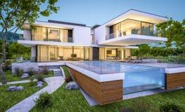 het 3d teruggeven van modern huis door de rivier bij avond Stock Foto