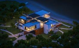 het 3d teruggeven van modern huis door de rivier bij nacht Royalty-vrije Stock Afbeelding