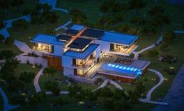 het 3d teruggeven van modern huis door de rivier bij nacht Stock Fotografie