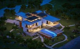 het 3d teruggeven van modern huis door de rivier bij nacht Royalty-vrije Stock Foto
