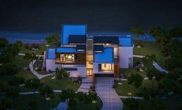 het 3d teruggeven van modern huis door de rivier bij nacht Stock Foto