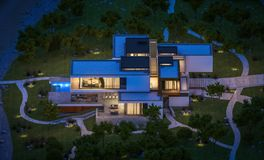 het 3d teruggeven van modern huis door de rivier bij nacht Royalty-vrije Stock Afbeeldingen