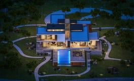 het 3d teruggeven van modern huis door de rivier bij nacht Royalty-vrije Stock Foto's