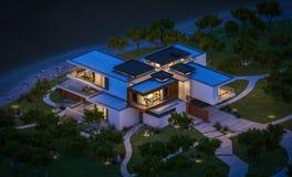 het 3d teruggeven van modern huis door de rivier bij nacht Stock Foto's
