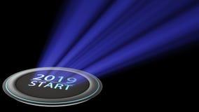het 3d teruggeven van nieuwe jaar 2019 blauwe verlichting met BTN om te drukken Stock Afbeeldingen