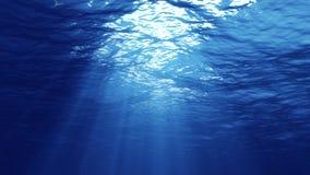 het 3D teruggeven van onderwaterlicht leidt tot een mooi zonnegordijn De onderwater oceaangolven oscilleren en stromen met de str royalty-vrije stock fotografie