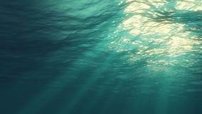 het 3D teruggeven van onderwaterlicht leidt tot een mooi zonnegordijn De onderwater oceaangolven oscilleren en stromen met de str royalty-vrije stock foto