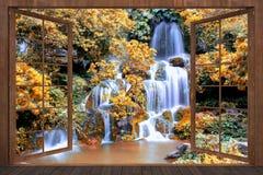het 3d teruggeven van open houten vensters met een mening van de waterval Stock Foto