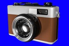 het 3d teruggeven van oude retro camera op een blauwe achtergrond F Royalty-vrije Stock Afbeelding