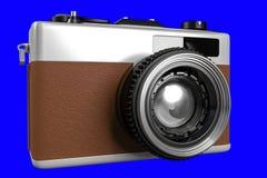 het 3d teruggeven van oude retro camera op een blauwe achtergrond F Royalty-vrije Stock Fotografie
