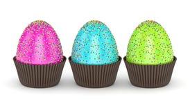 het 3d teruggeven van paaseieren met bestrooit in muffindocumenten Royalty-vrije Stock Afbeelding