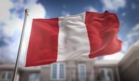 Het 3D Teruggeven van Peru Flag op Blauwe Hemel de Bouwachtergrond Royalty-vrije Stock Foto
