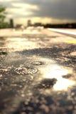 het 3d teruggeven van regendruppels op straatvulklei voor vaag s Stock Foto