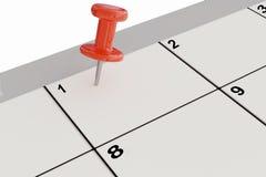 het 3D teruggeven van rode punaise op kalender Stock Afbeeldingen