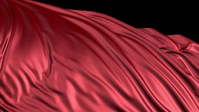 het 3D teruggeven van rode zijde De stof ontwikkelt zich regelmatig in de wind stock videobeelden