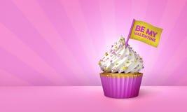 het 3D Teruggeven van Roze Cupcake, Gouden Strepen rond Cupcake Royalty-vrije Stock Afbeeldingen