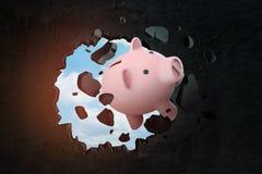 het 3d teruggeven van roze die spaarvarken door hiaat in zwarte muur wordt gezien royalty-vrije illustratie