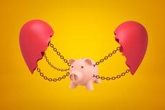 het 3d teruggeven van roze opgeschort spaarvarken op kettingen tussen twee delen van gebroken hart op gele achtergrond vector illustratie