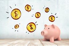 het 3d teruggeven van roze spaarvarken op witte houten vloer met de muntstukken van de beeldverhaaldollar op witte muurachtergron royalty-vrije illustratie