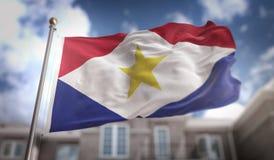 Het 3D Teruggeven van Saba Flag op Blauwe Hemel de Bouwachtergrond Stock Fotografie