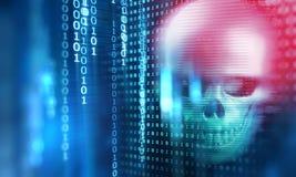 het 3d teruggeven van schedel op technologieachtergrond Royalty-vrije Stock Foto