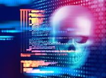 het 3d teruggeven van schedel op technologieachtergrond Stock Afbeeldingen