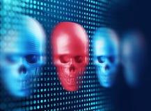 het 3d teruggeven van schedel op technologieachtergrond Stock Foto's