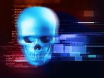 het 3d teruggeven van schedel op technologieachtergrond Royalty-vrije Stock Foto's