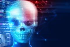 het 3d teruggeven van schedel op technologieachtergrond Stock Afbeelding