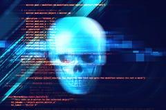 het 3d teruggeven van schedel op technologieachtergrond Stock Foto