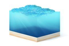 het 3d teruggeven van sectie van schoon oceaanwater met bodem onder water, die op witte achtergrond wordt geïsoleerd Royalty-vrije Stock Foto's
