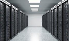 het 3D teruggeven van server voor gegevensopslag, verwerking en analyse Stock Foto's