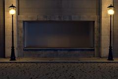 het 3d teruggeven van showcase met verlicht lantaarn in de oude stad st Stock Afbeelding