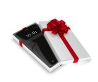 het 3d teruggeven van smartphone in giftdoos over wit wordt geïsoleerd dat Stock Afbeelding
