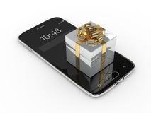 het 3d teruggeven van smartphone met giftdoos over wit wordt geïsoleerd dat Royalty-vrije Stock Foto's