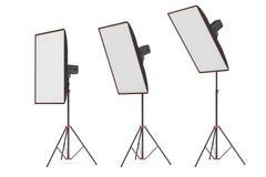 het 3d teruggeven van studioflits met grote grootte softboxes tribunes wees in verscheidene hoeken af Royalty-vrije Stock Fotografie