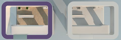 het 3d teruggeven van tentoonstelling twee met kleuren en één enkel whit Stock Foto