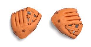 het 3d teruggeven van twee ging - overhandigde oranje honkbalhandschoenen liggend op een witte achtergrond in een hoogste mening  royalty-vrije illustratie