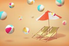 het 3d teruggeven van twee ligstoelzitkamers die zich onder een paraplu op een gele achtergrond met vele opgeblazen ballen bevind vector illustratie