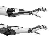 het 3d teruggeven van twee robotwapens met handvingers in het grijpen van motie op witte achtergrond Stock Foto's