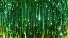 het 3D teruggeven van het vallen van heldere deeltjes Starfall op een donkere achtergrond met glanzende en gloeiende asterisken Royalty-vrije Stock Fotografie