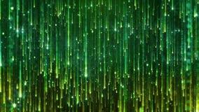 het 3D teruggeven van het vallen van heldere deeltjes Starfall op een donkere achtergrond met glanzende en gloeiende asterisken Royalty-vrije Stock Afbeeldingen