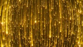 het 3D teruggeven van het vallen van heldere deeltjes Starfall op een donkere achtergrond met glanzende en gloeiende asterisken Stock Foto