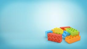 het 3d teruggeven van verscheidene multi-colored rechthoekig stuk speelgoed blokkeert het liggen in een stapel op blauwe achtergr Royalty-vrije Stock Fotografie