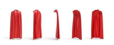 het 3d teruggeven van vijf soorten mening van een kaap maakte van een rode die satijnkleren op witte achtergrond worden geïsoleer Royalty-vrije Stock Foto