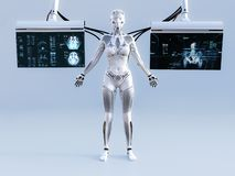 het 3D teruggeven van vrouwelijke die robot met de schermen wordt verbonden stock fotografie
